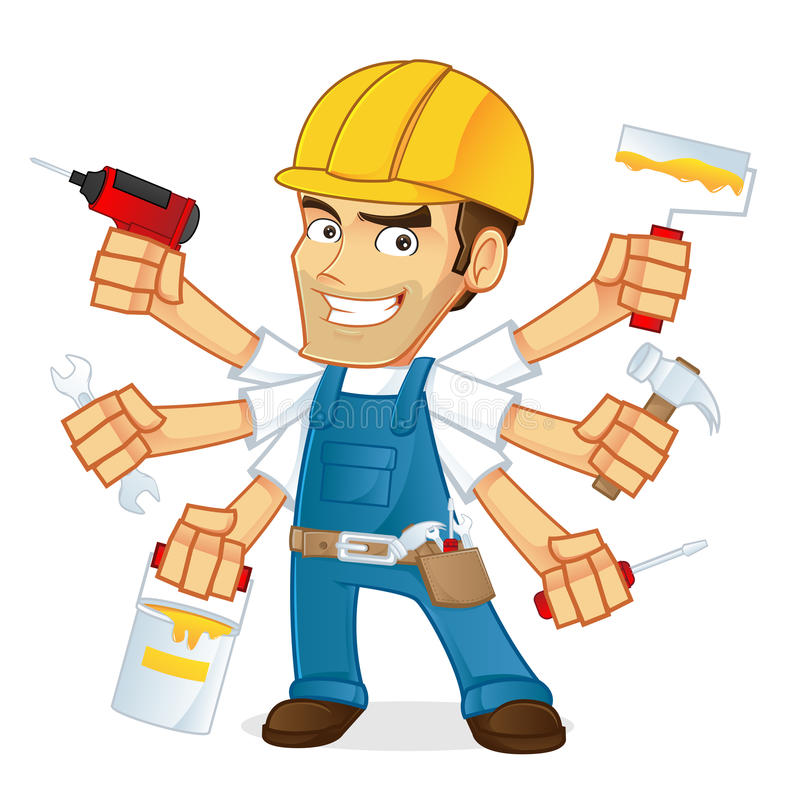 Handyman Holding Multiple Tools Stock Vector