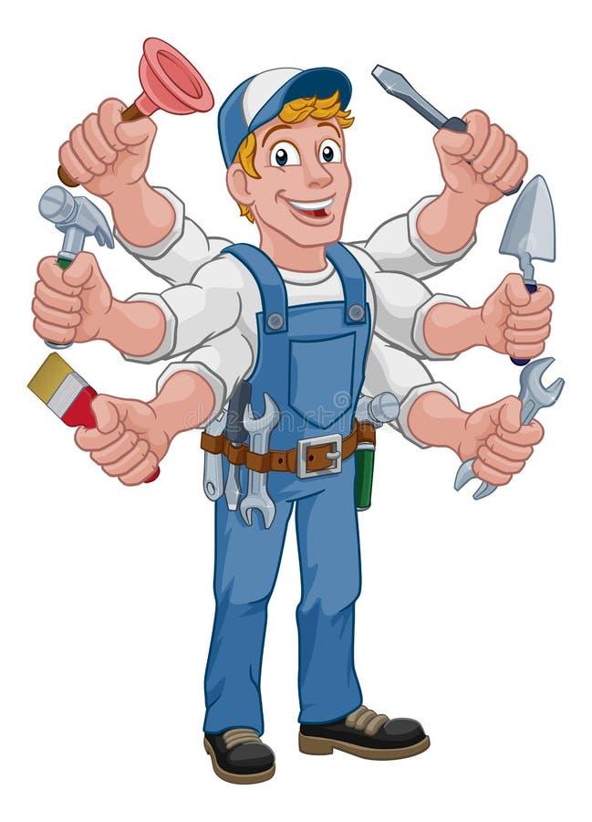 Free Handyman Cartoon Tools Caretaker Construction Man Royalty Free Stock Images - 142545169