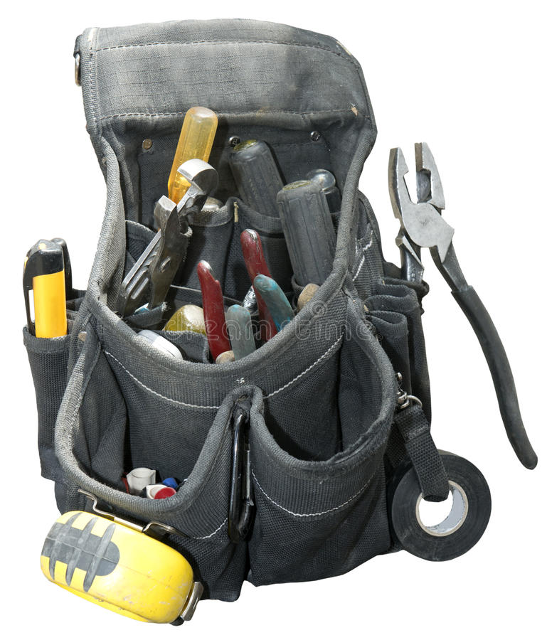 Handyman Contractor Worker Tool Belt Isolated. Tool belt worn by a handyman or contractor or blue collar worker. The tools are kept handy by wearing it around royalty free stock image