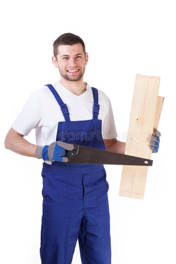 Handyman cutting board with saw stock images