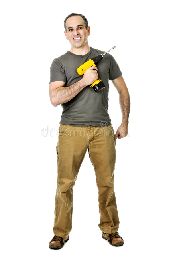 Handyman with a drill stock photography