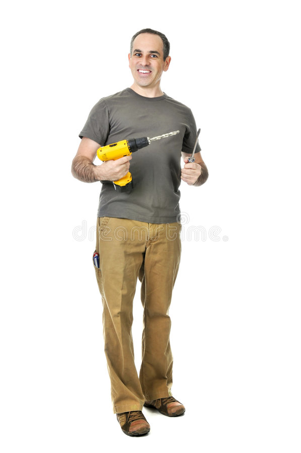 Handyman with a drill and screwdriver royalty free stock photos