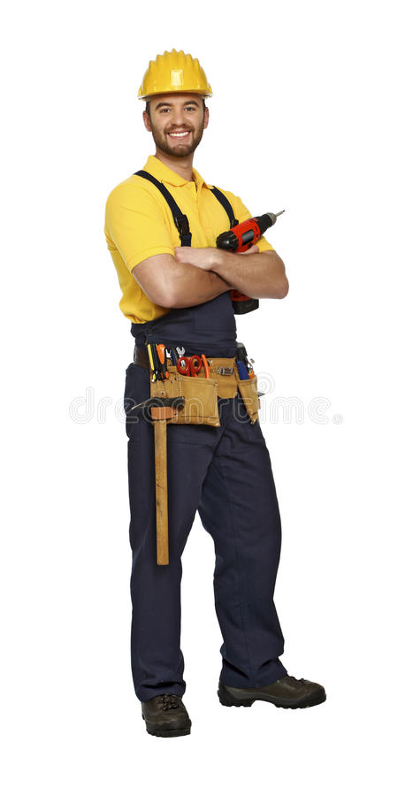 Handyman with drill on white background royalty free stock images