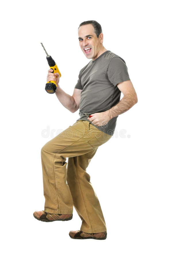 Handyman with a drill and wire cutters stock image