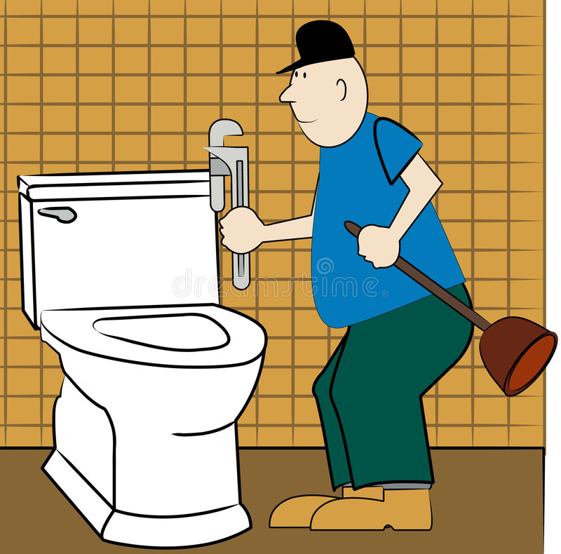 Handyman fixing toilet stock illustration