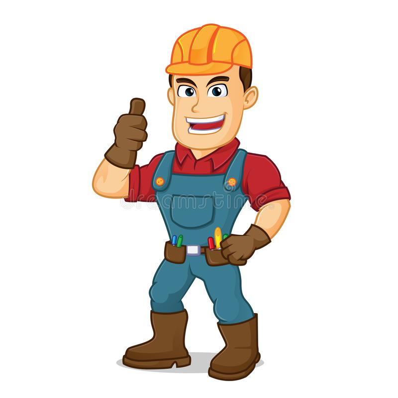 Handyman give thumb up. Cartoon illustration, can be download in vector format for unlimited image size royalty free illustration