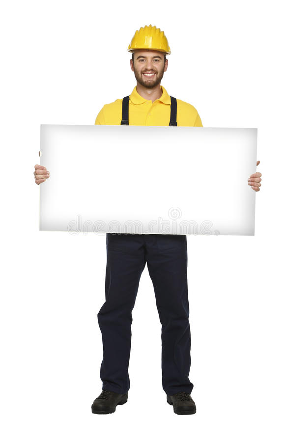 Download Handyman hold white board stock photo. Image of portrait - 12131620