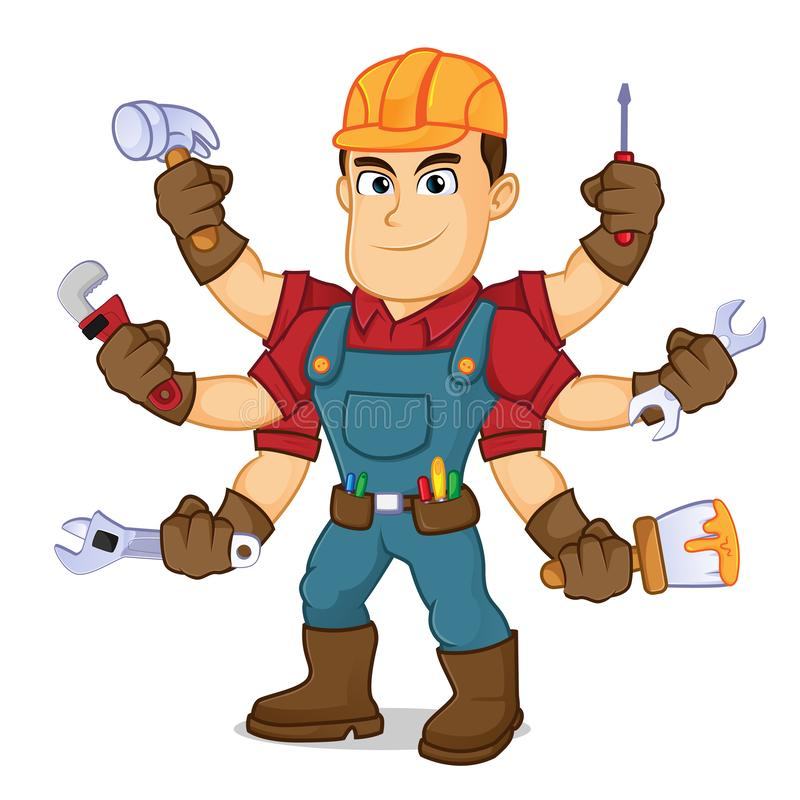 Cartoon Handyman With Tools Stock Vector
