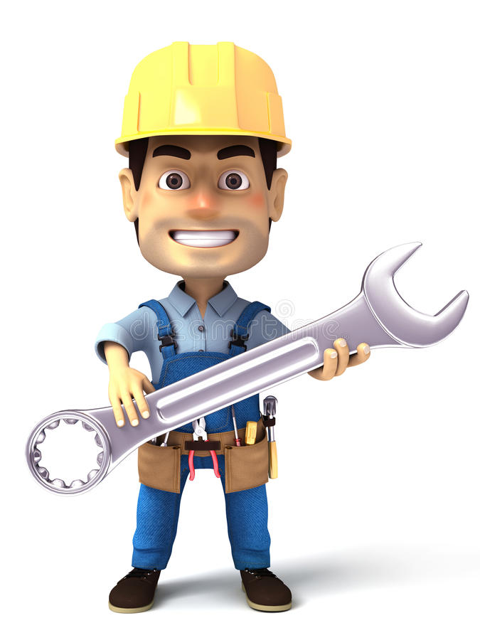 Download Handyman Holding Wrench Tool Royalty Free Stock Photos - Image: 31996058