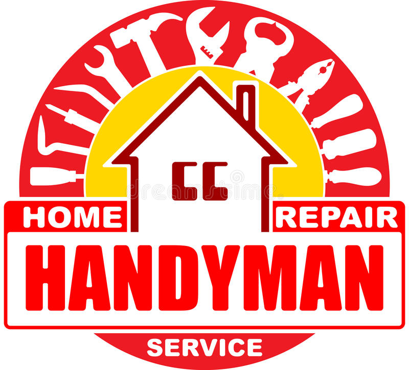 Handyman home repair services. Round vector design for your logo. Or emblem with home and set of workers tools. There are wrench, screwdriver, hammer, pliers vector illustration