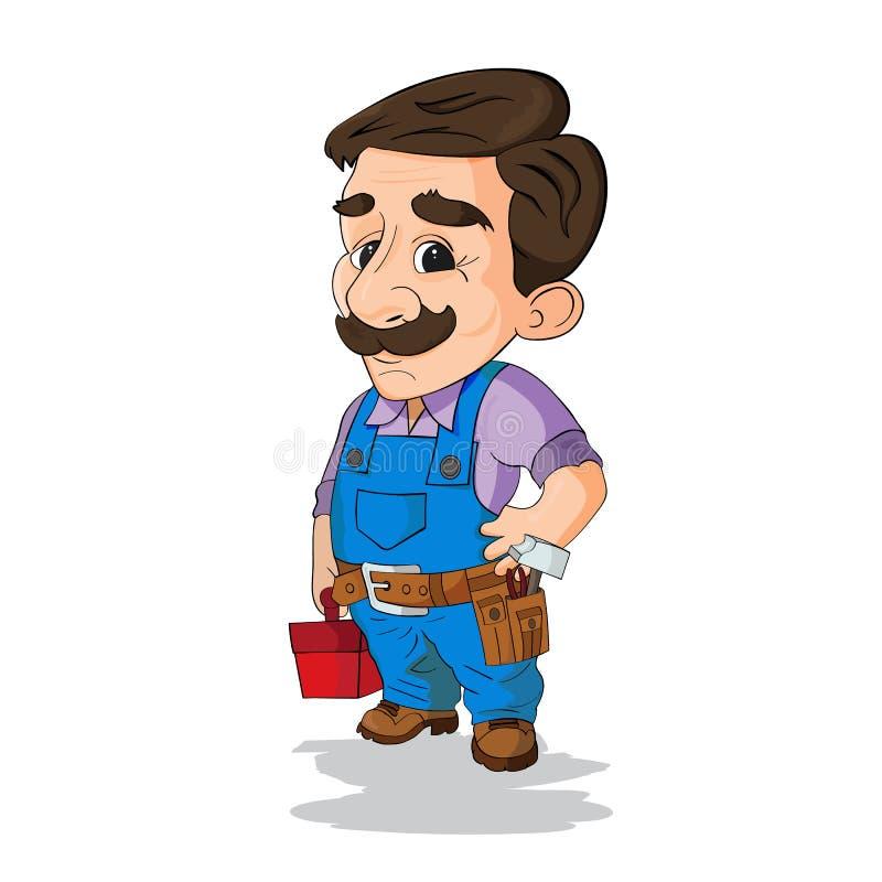 Handyman met werkkleding en een gordel met gereedschap royalty-vrije illustratie