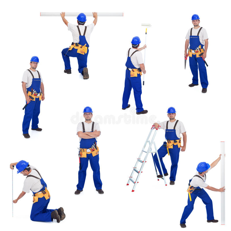 Free Handyman Or Worker In Different Working Positions Stock Photo - 20261430