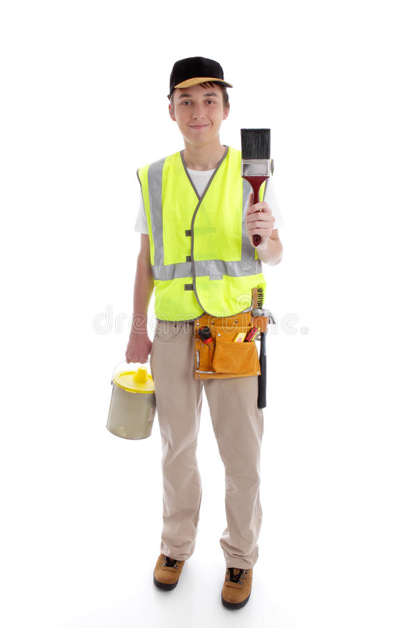 Handyman or painter ready for work. White background stock photos