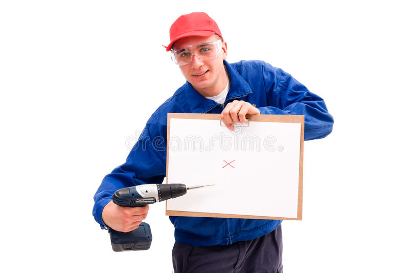 Download Handyman with plans stock image. Image of plan, blue - 17310911