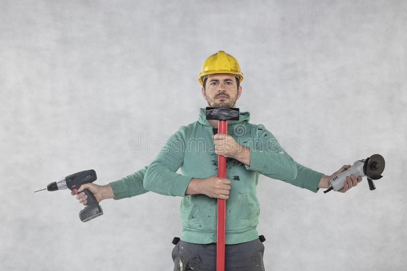 Handyman is ready for construction works stock photo