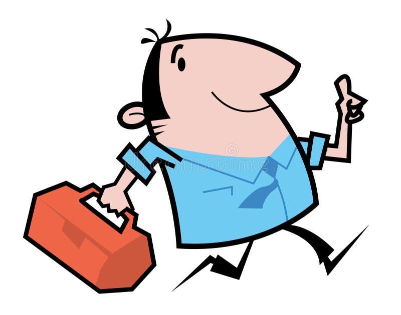 Handyman running cartoon illustration. Cartoon illustration of a handyman carrying toolbox, running vector illustration