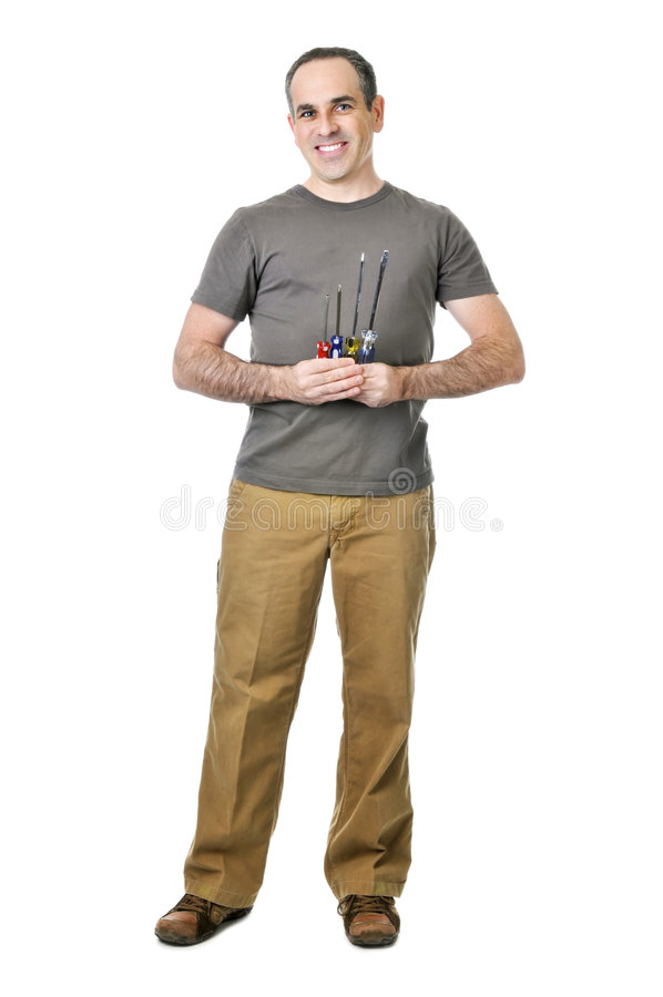 Handyman with screwdrivers stock image