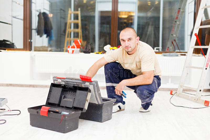 Handyman with Tool Box stock photos