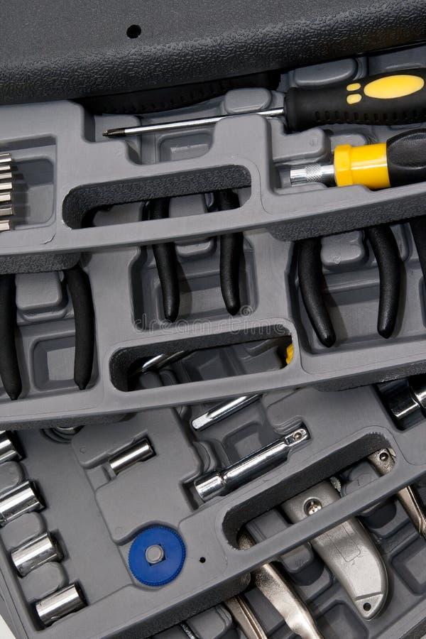 Handyman toolkit. Closeup of the handyman tools box stock photography