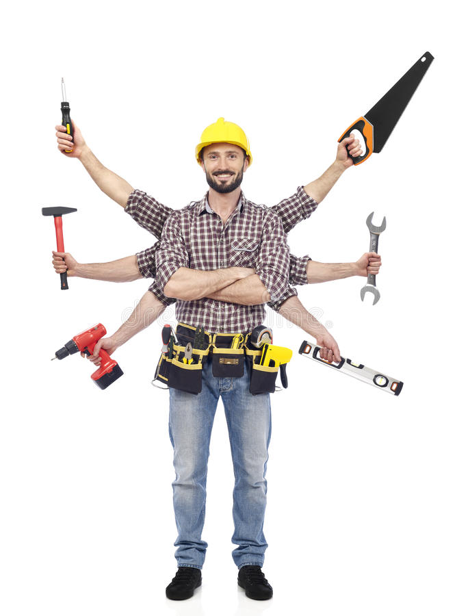 Handyman with tools stock photos