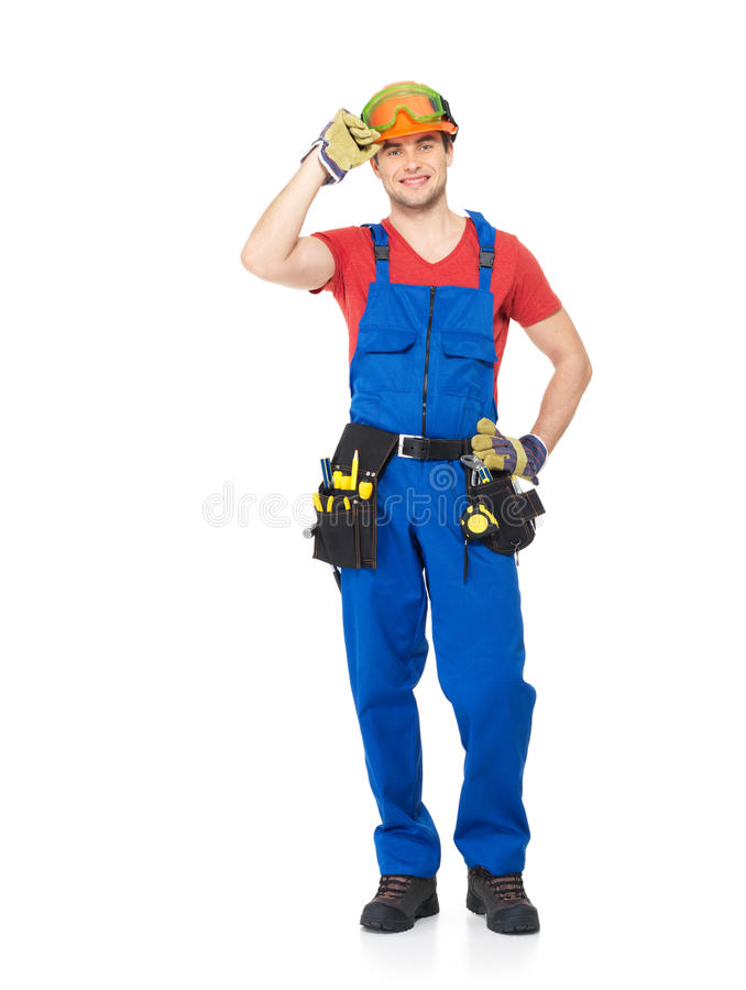 Handyman with tools full portrait isolated royalty free stock photography
