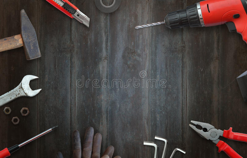 Handyman tools for home repairs. Top view and free space for text royalty free stock images