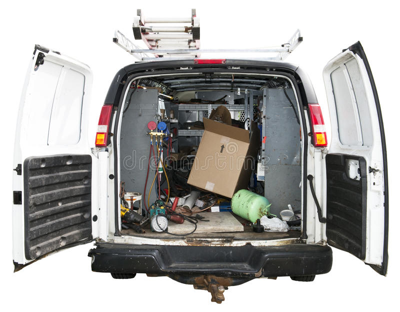 Handyman Utility Truck Van Isolated on White. Handyman utility van. The serviceman drives to your house in his truck to do home maintenance and make repairs. And stock images