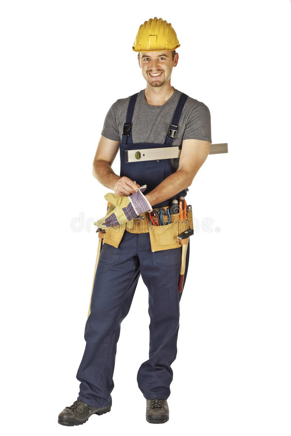 Handyman wearing gloves. Caucasian young handyman wearing gloves isolated on white background stock images