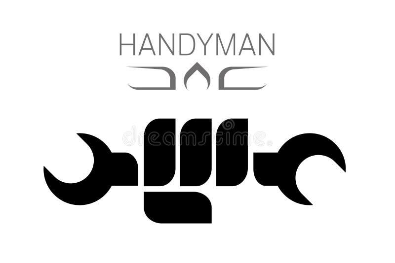 Handyman hold wrench royalty free illustration