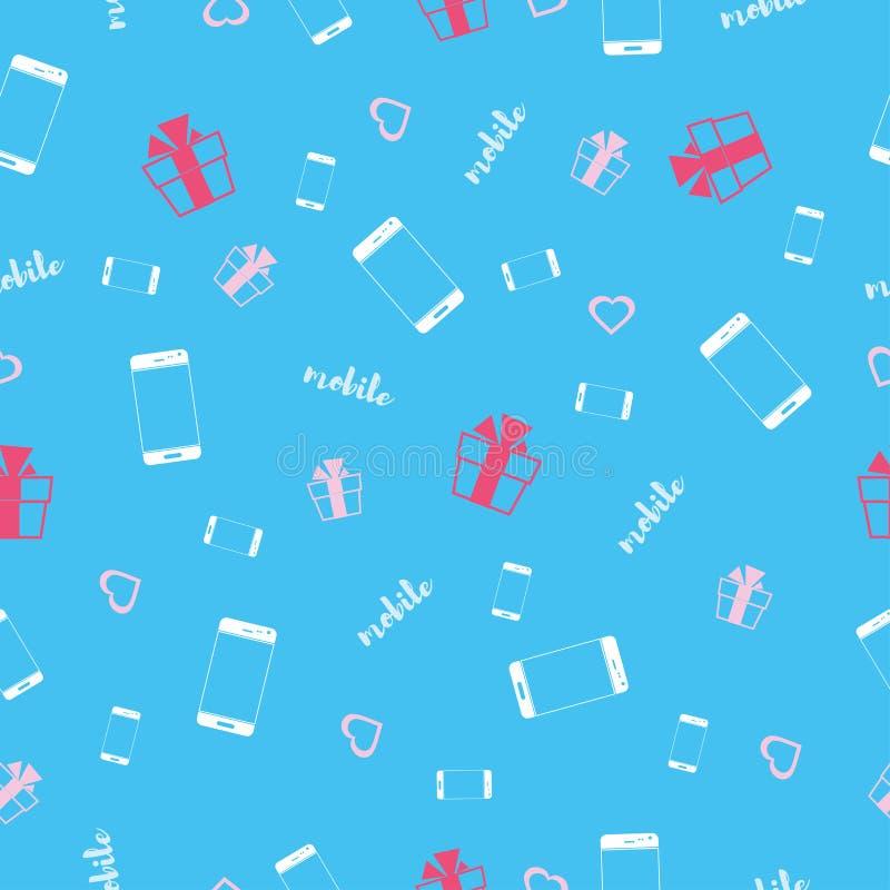 Handys auf einem blauen Hintergrund Nahtloses Muster Auch im corel abgehobenen Betrag vektor abbildung