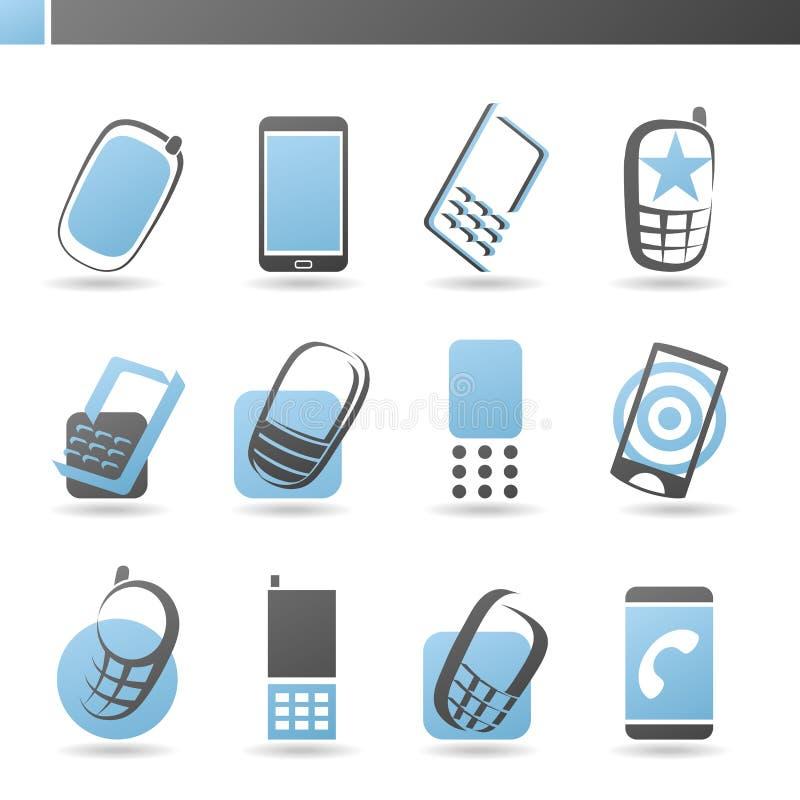 Handys. Vektorzeichen-Schablonenset. stock abbildung