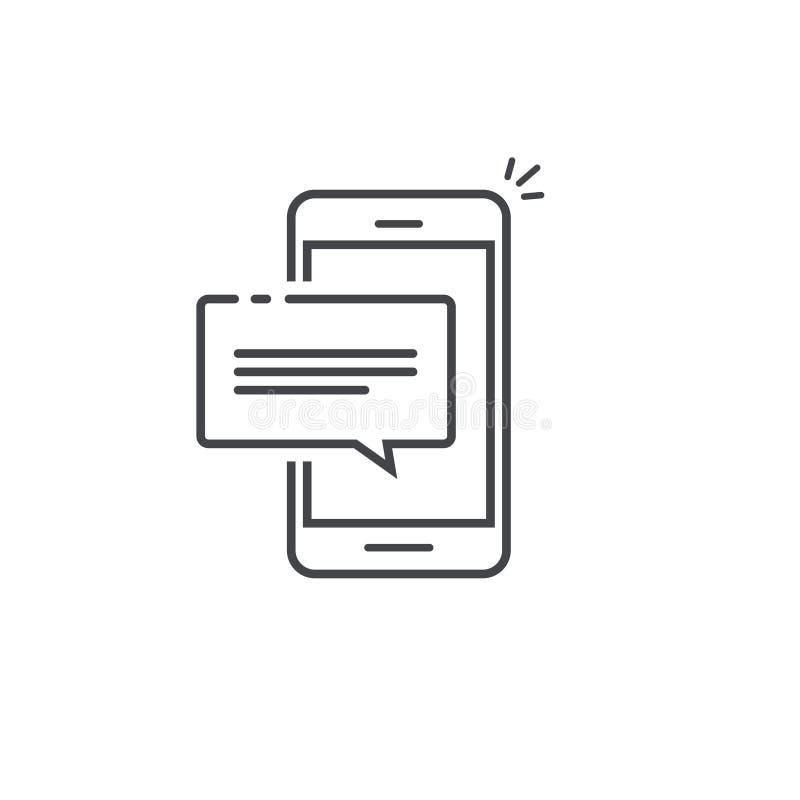 Handyschwätzchenmitteilungsmitteilungs-Vektorikone lokalisierte Linie Entwurf, Smartphoneblasensprachepiktogramm, Konzept von lizenzfreie abbildung
