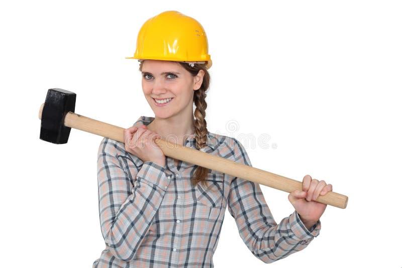Download Handywoman holding hammer stock image. Image of holding - 26646183