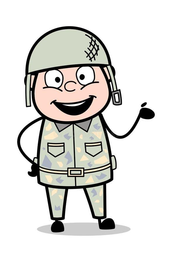Handzeichen darstellen - netten Armee-Mann-Karikatur-Soldaten Vector Illustration stock abbildung
