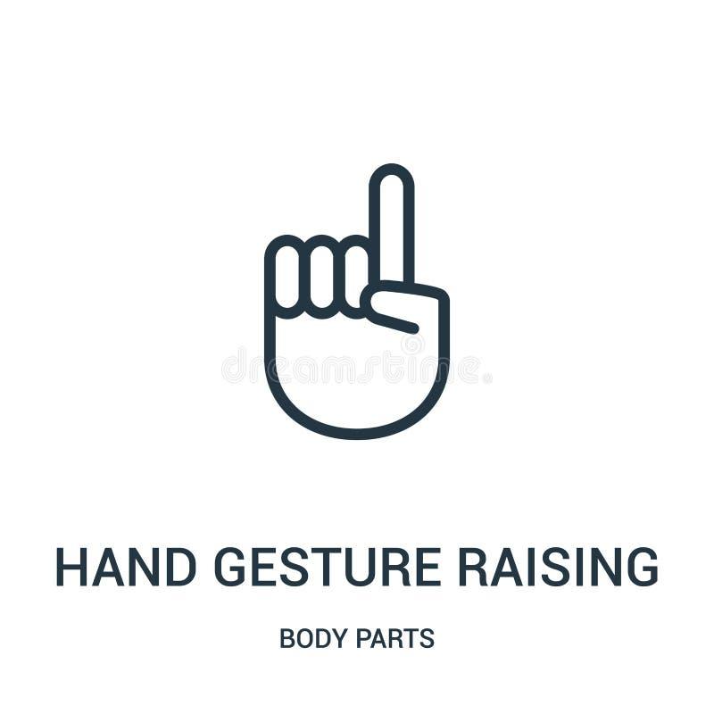 Handzeichen, das den Zeigefinger-Ikonenvektor von der Körperteilsammlung anhebt Dünne Linie Handzeichen, das den Zeigefinger anhe vektor abbildung