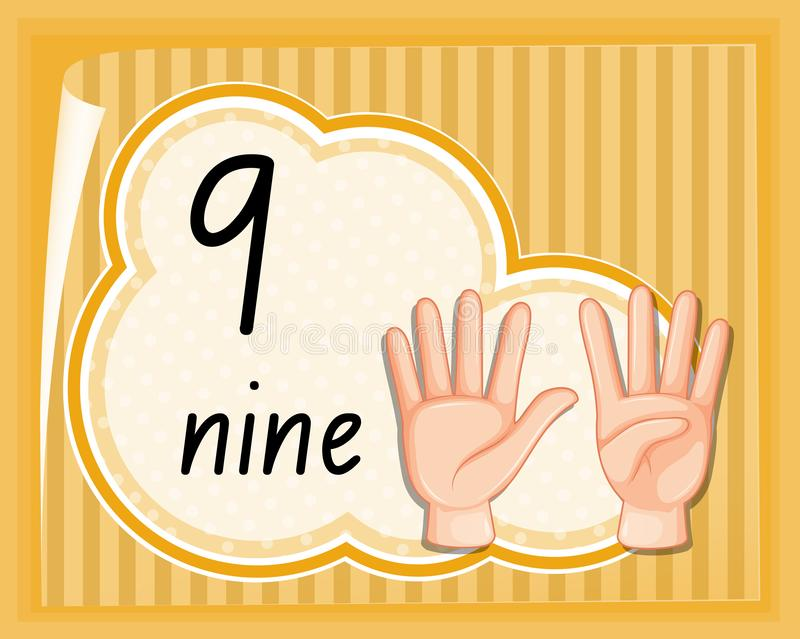 Handzeichen der Nr. neun stock abbildung