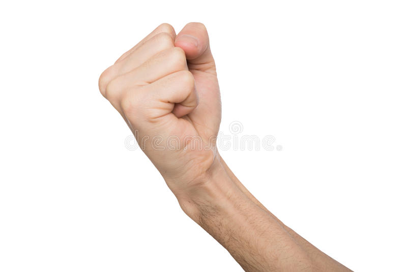 Handzeichen, die Manngeballte faust, bereit zu lochen lokalisierte auf Weiß stockfoto