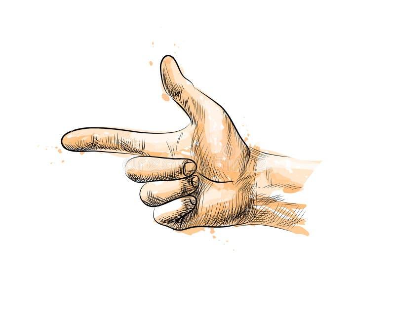 Handzeichen, Finger Gewehr lizenzfreie abbildung