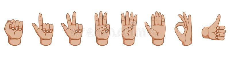 Handzeichen, großer Entwurf zu irgendwelchen Zwecken zeichen Gestenlinie Ikone Vektorgesten Weißer Hintergrund Innere Seite lizenzfreie abbildung