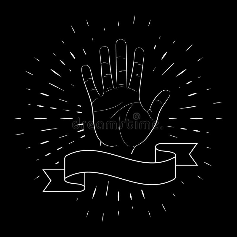 Handzeichen, offene Palme, Gruß, fünf Finger, Kontur, vor dem hintergrund der linearen Strahlen Für das Design des Posters lizenzfreie abbildung