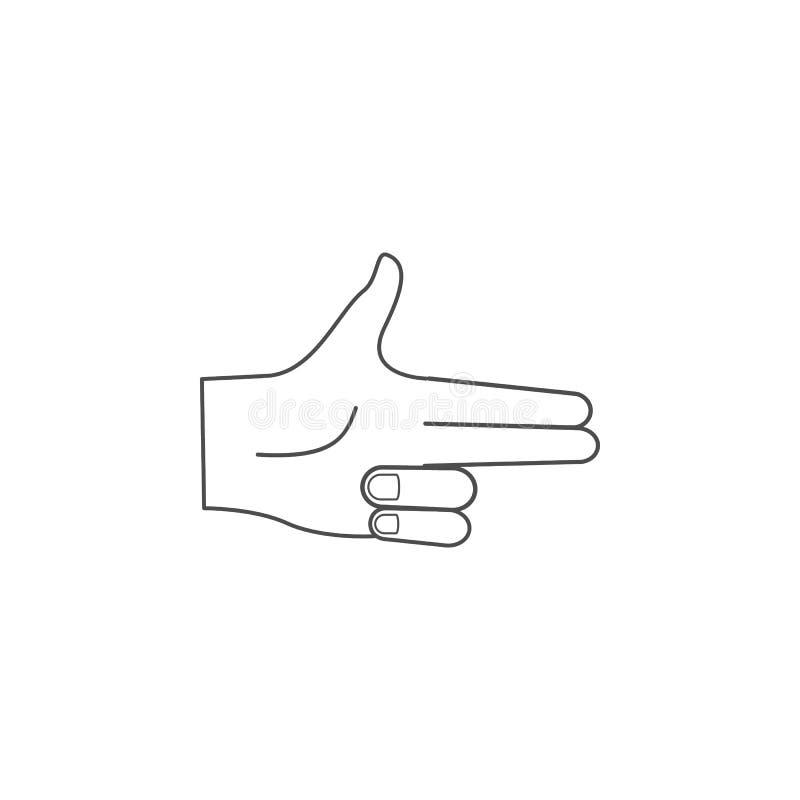 Handzeichen-Pistolenikone Handzeichenelementkonzept und -netz apps Dünne Linie Ikone für Websitedesign und Entwicklung, APP-devel stock abbildung