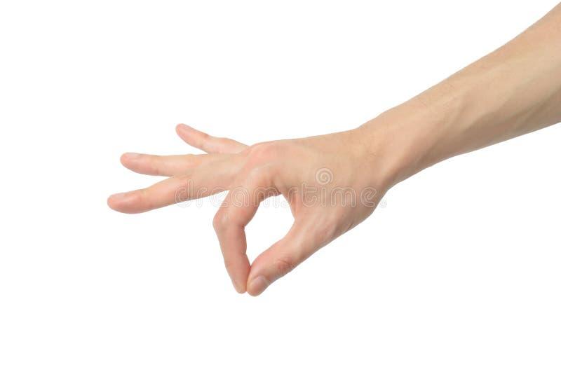 Handzeichen von etwas aufheben stockbild
