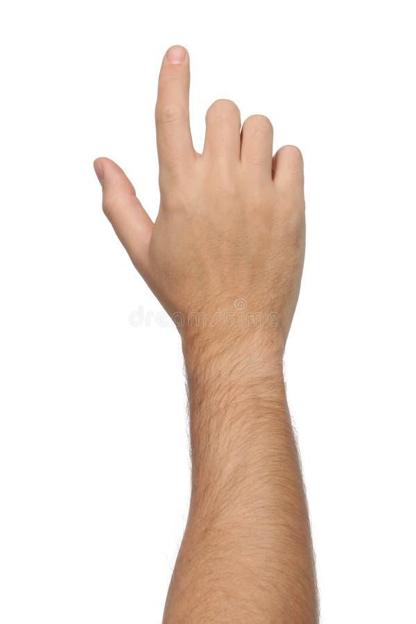Handzeichen Zeigen oder etwas berührend stockbild