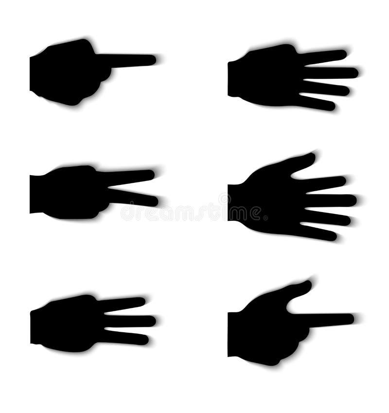 Handzeichenschattenbilder mit Schatteneffekt stock abbildung