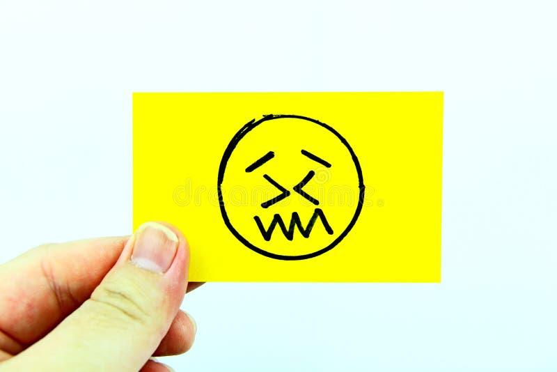 Handzeichnung emoji mit Emoticongesicht lizenzfreies stockbild