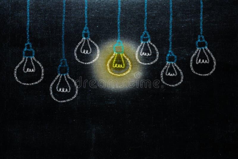 Handzeichnung mit Birnenlichtidee Konzept großen Ideen inspirat stockfotografie