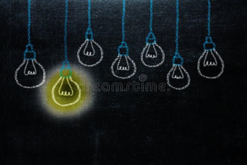 Handzeichnung mit Birnenlichtidee Konzept großen Ideen inspirat stockfotos