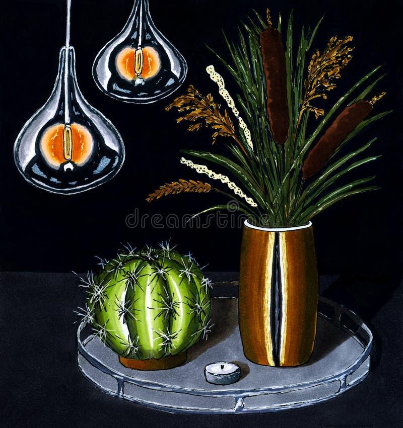 Handzeichnungsvase mit Schilfen und Trockenblumekaktus und Retro- Lampen auf schwarzem Hintergrund vektor abbildung