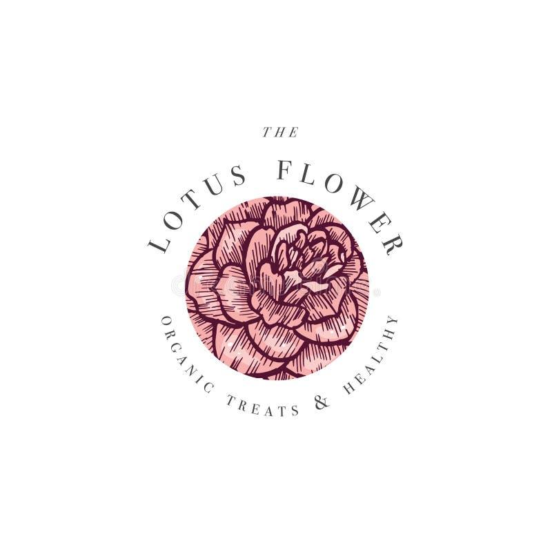 Handziehvektor Camelia Blumen Logo-Abbildung Blumenkranz Botanisches Blumenemblem mit Typografie auf Weiß stock abbildung
