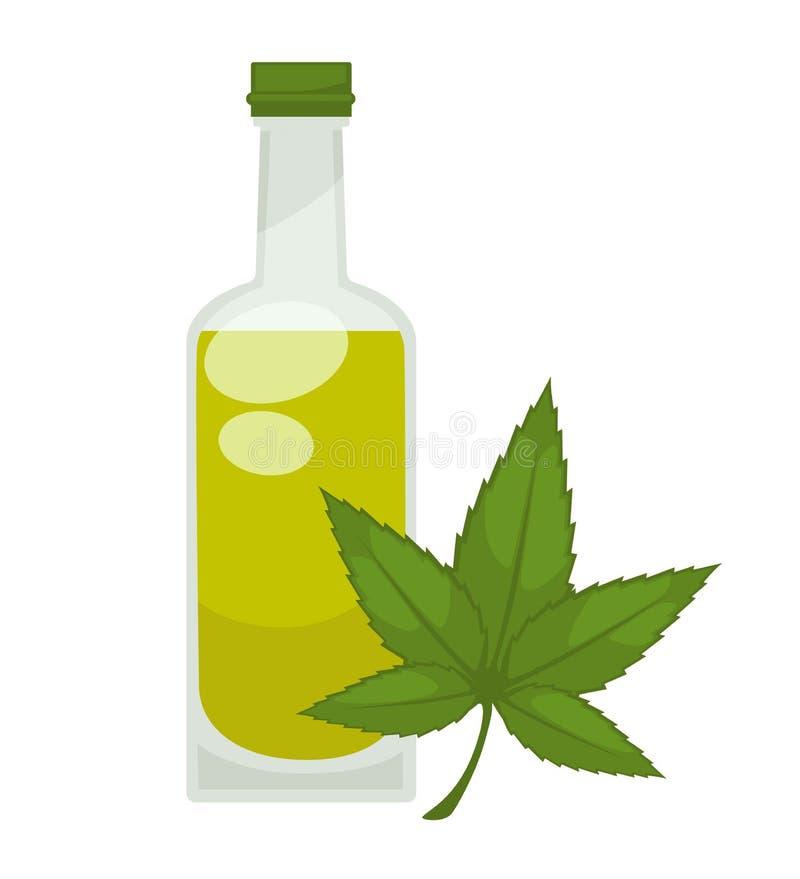 Hanföl in der Flasche Lokalisierte Ikone des Vektors Ebene lizenzfreie abbildung